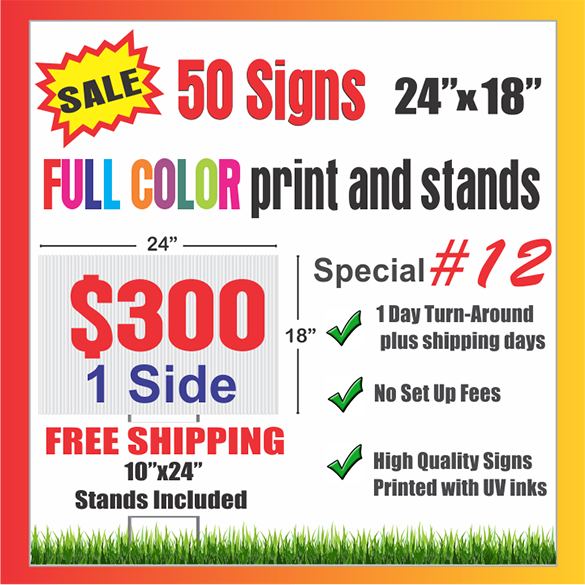 YARD SIGNS FREE SHIPPING