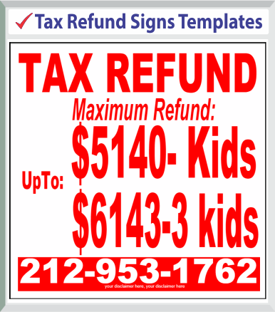 "Browse Tax Refund Signs Templates 48""x 48"""